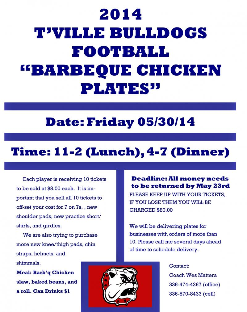 2014 T'ville Chicken Fry Fundraiser Flyer